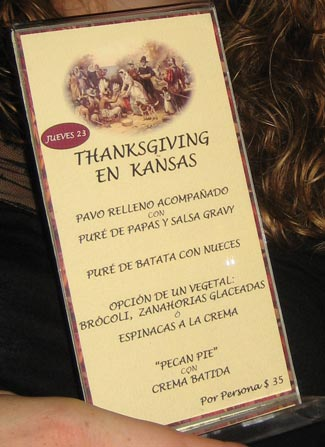 Buenos Aires Thanksgiving Menu at Kansas Restaurant
