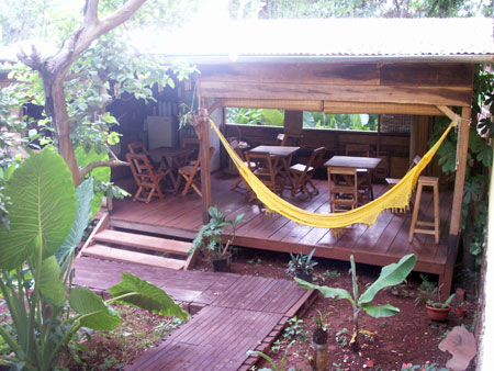 The awesome patio at Timbo Posada in Puerto Iguazu