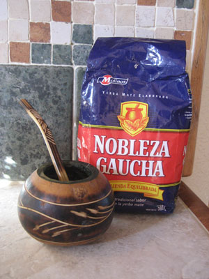 Yerba Mate and gourd from which mate tea is drunk