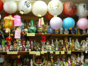 A shelf of lanterns in the Buenos Aires Chinatown.