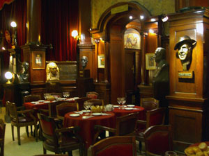 Cafe Tortoni in Buenos Aires, see the old world charm.