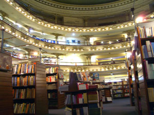 Bookshelves at El Ateneo bookstore in Buenos Aires
