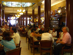 Inside the Cafe Tortoni in Buenos Aires