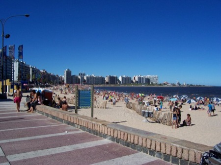 View of Montevideo and Beach on a crowded day.  Courtesy of Federico Corral