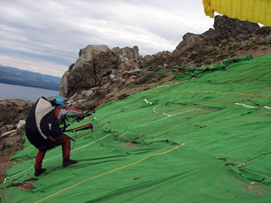 The launching strip for paragliding in Bariloche, Argentina